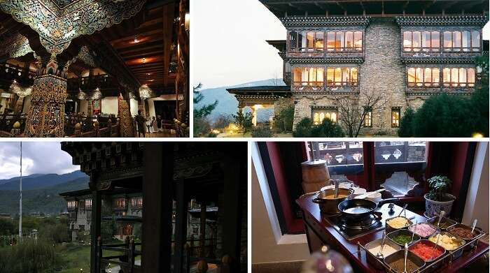 A collage of the many views of Zhiwa Ling hotel at Paro