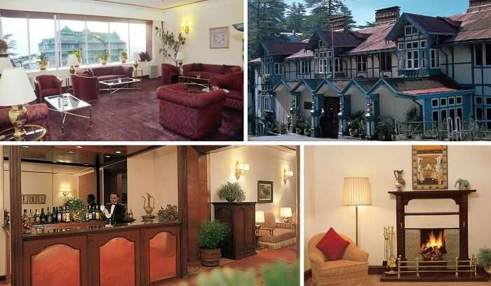 A collage of many views of Clarkes hotel in Shimla near Mall Road