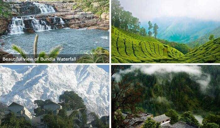 The Bundla waterfall, Dhauladhar mountains, tea plantations, and pine forests make Palampur look very beautiful
