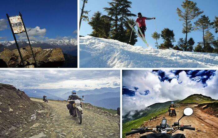 Scenes from the bike trek to the pass and skiing at Chanshal Pass