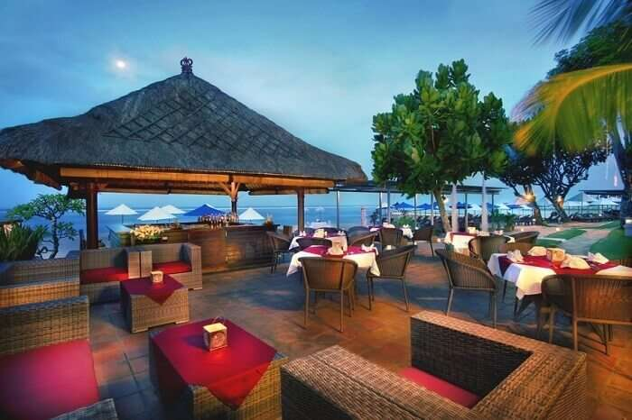 A view of the beach-side dining area at the Grand Aston Bali Beach Resort