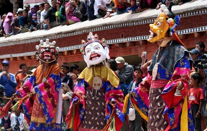 Priests dressed up for the Hemis festival
