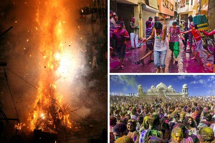A collage of Holika bonfire and holi celebrations
