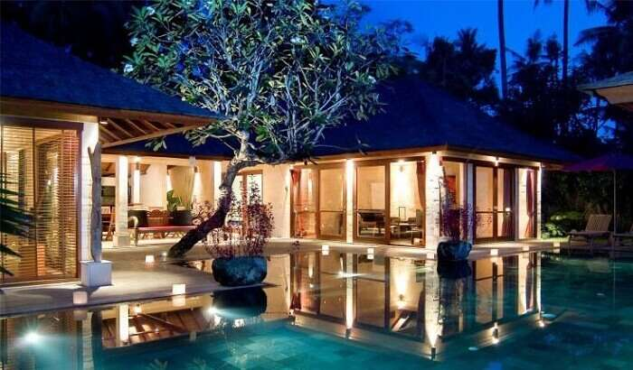 A late evening shot of the pool and the Jamahal Resort at Jimbaran Bay
