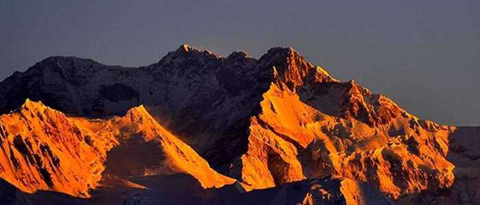 Kanchenjunga lit in many colours during sunrise