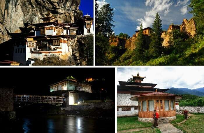 A collage of the various tourist places in Paro Valley