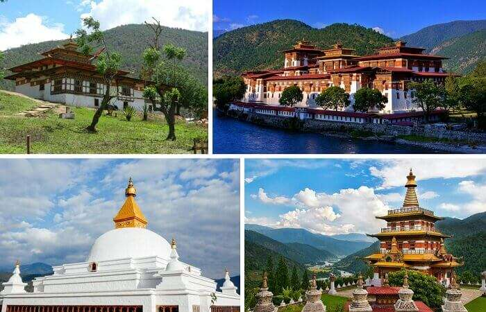 A collage of the various places in Punakha to visit on honeymoon in Bhutan