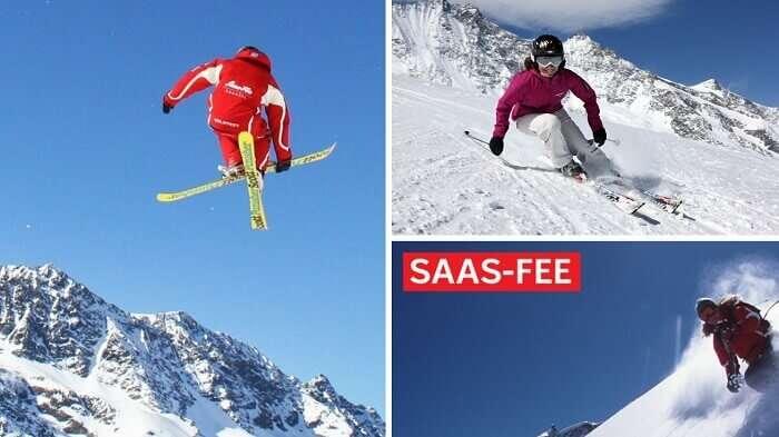 Snowboarding at skiing at Saas Fee Ski Resort in Switzerland