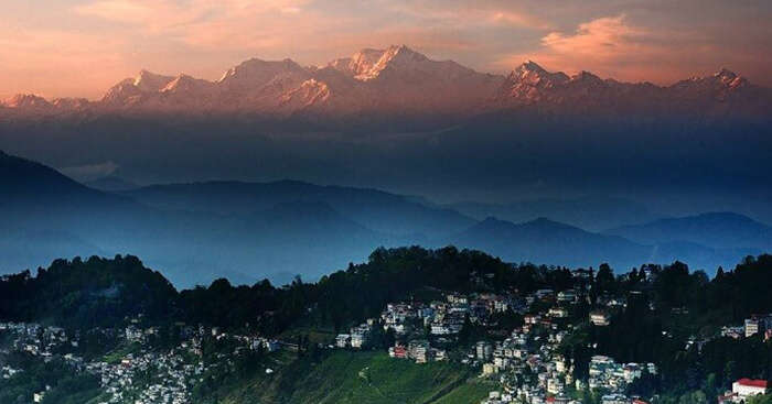 The town of Darjeeling and the hills beyond it