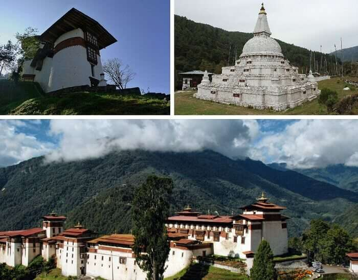A collage of the various places in Trongsa to visit on Bhutan honeymoon trip