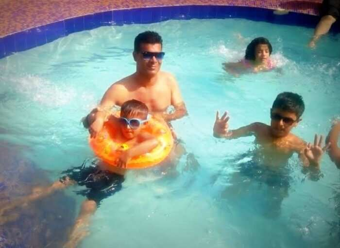 Having fun at the swimming pool