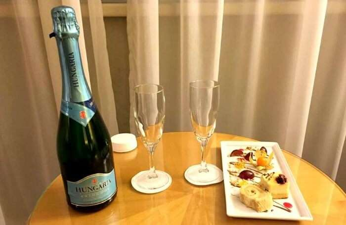 Enjoying some champagne and food in the Hilton Hotel