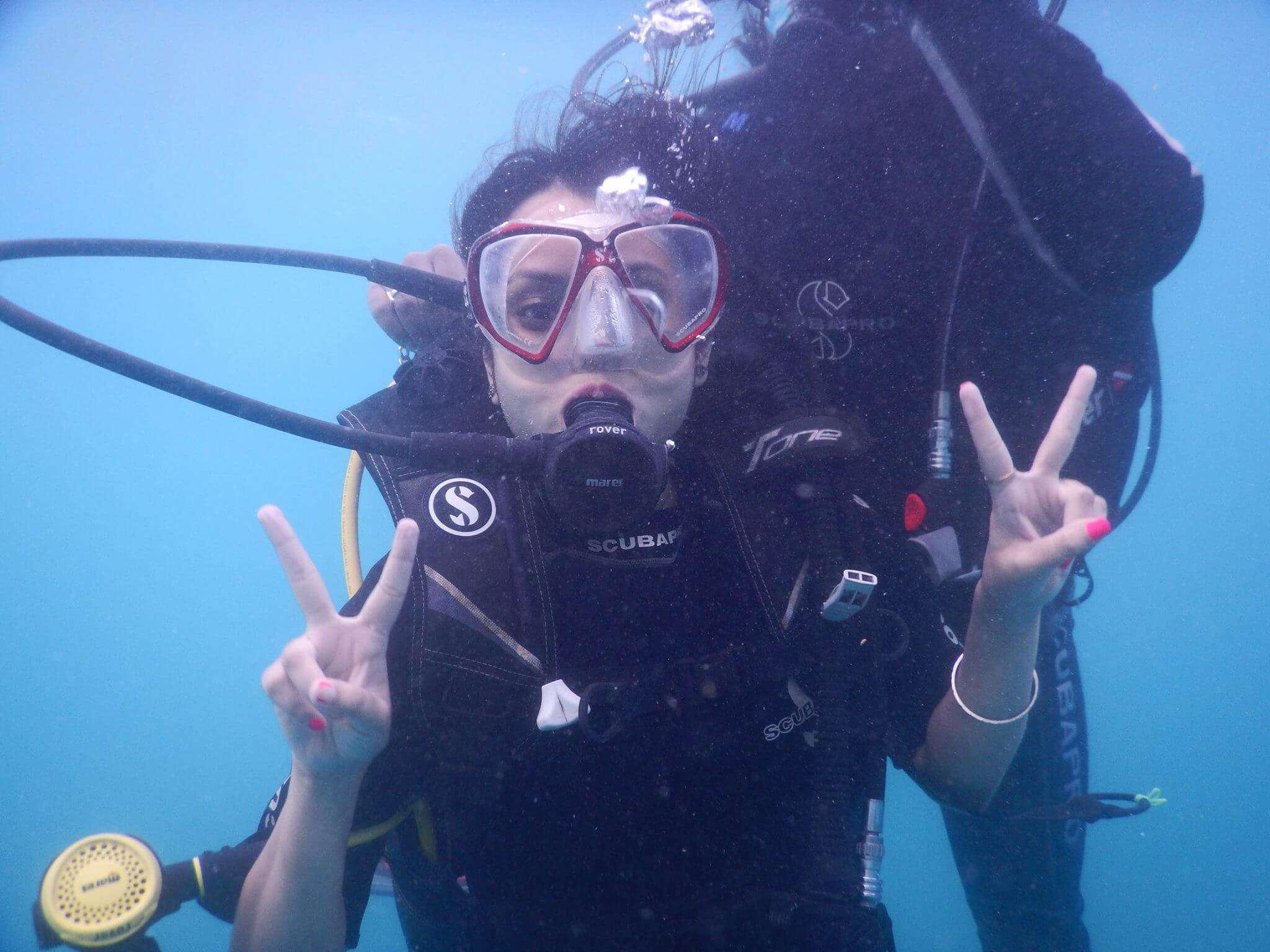 Posing underwater while cuba diving in ANdaman
