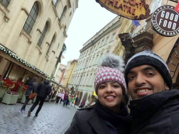 Selfie moment in the local streets of Vienna