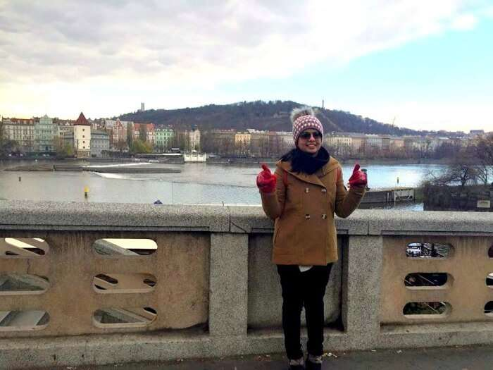 Enjoying the sunset next to the river in Prague