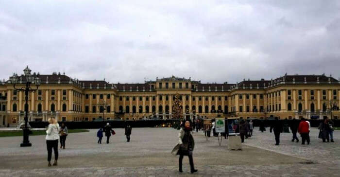 The beautiful Schonbrunn Palace on a cloudy day