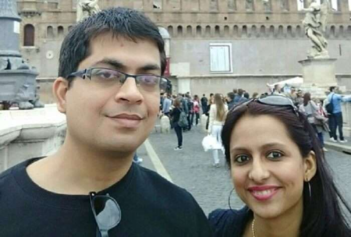 Anubhav and his wife in Europe