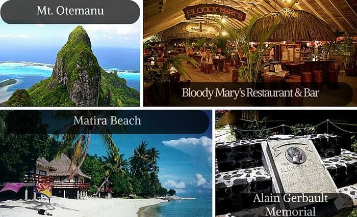 A collage of some of the best tourist attractions in Bora Bora