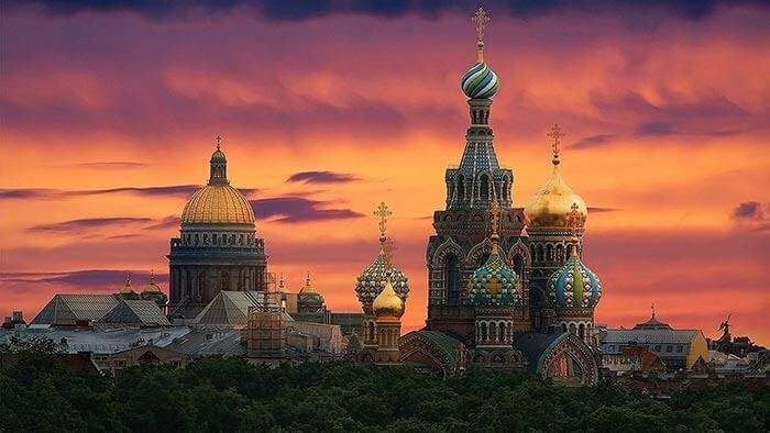 A magnificent evening view of St. Petersburg where the sun hasn't set