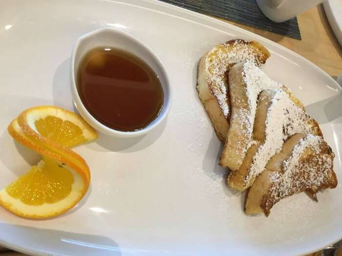 Delicious french toast with some honey in Prague