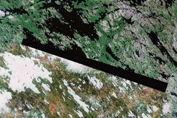 An area blocked in Baker Lake, Nunavut on Google maps