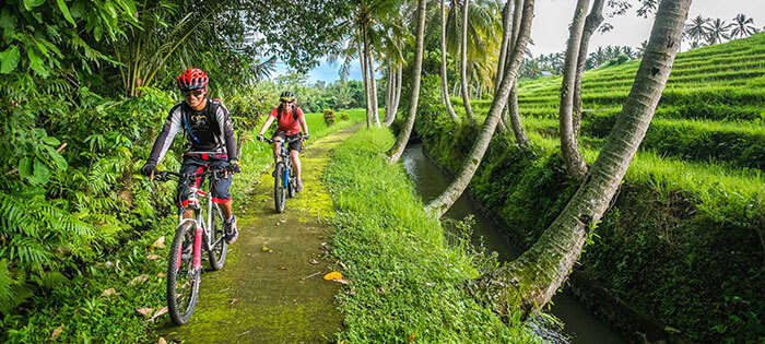 Bali Bike hiking near the paddy fields