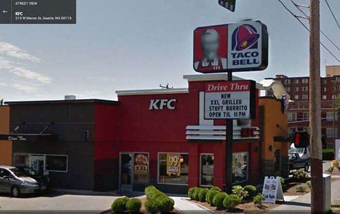 The blurred out Colonel Sanders's Face on a KFC outlet