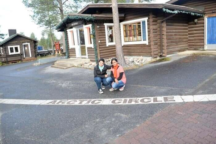 Soumya and Rashmi at the arctic circle