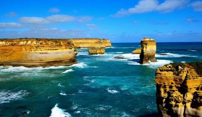 Gorgeous clear sky and blue waters near the Twelve Apostles