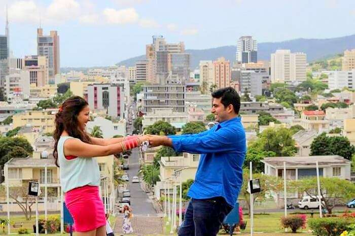 Tarun and his wife posing in Port Louis Mauritius