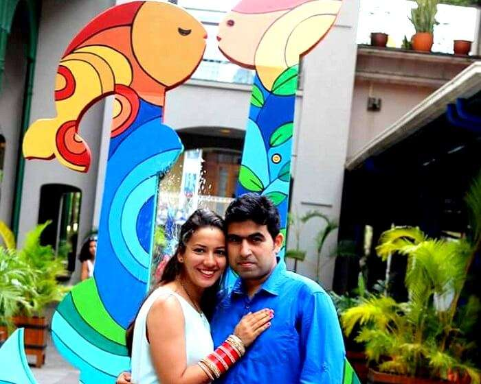 Tarun and his wife pose in Port Louis Mauritius