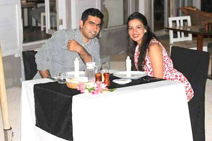 Tarun and his wife in Tropical Attitude Hotel Mauritius