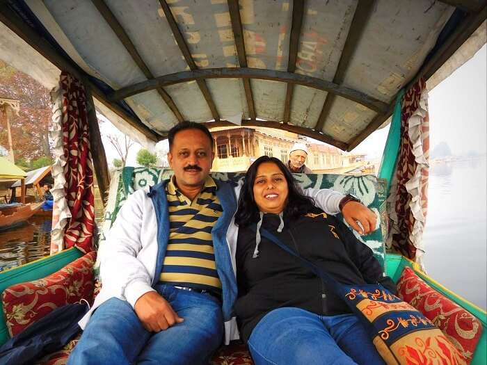 Sharad and his wife enjoying the Shikara ride