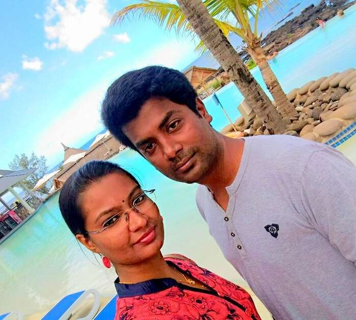 Karthik and his wife in Anelia Hotel Mauritius