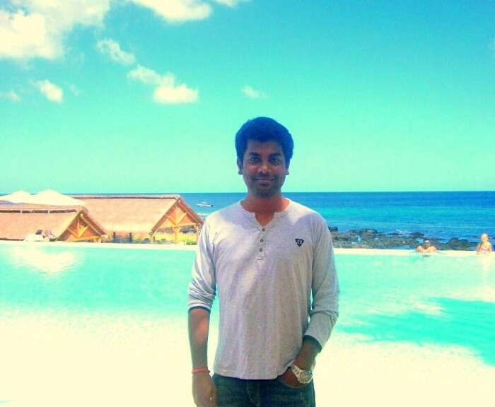 Karthik on the beach in Mauritius