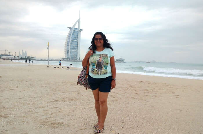 Ojas's wife enjoying the beautiful view of the Jumeirah beach
