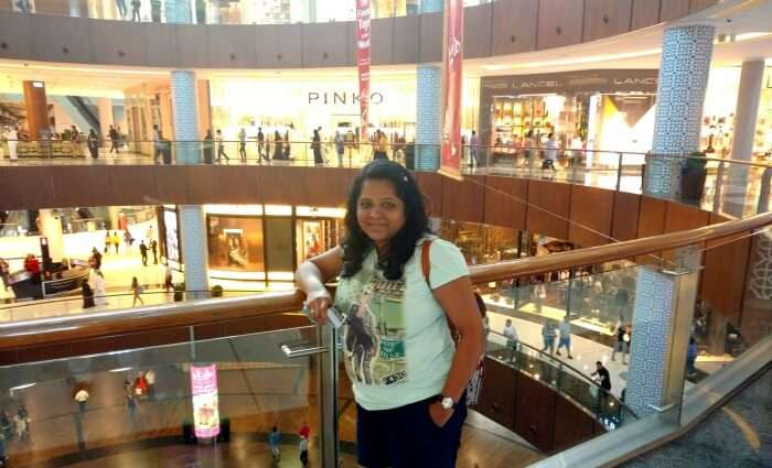 Ojas's wife enjoying the a mall in Dubai