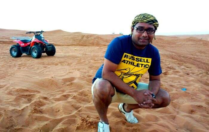 Ojas enjoying the desert safari in Dubai