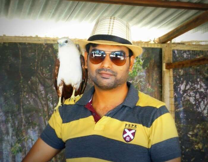 With the eagle on shoulder at Turtle Farm in Bali
