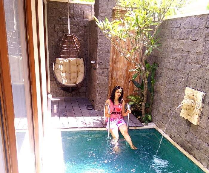 The swimming pool at our resort in Bali