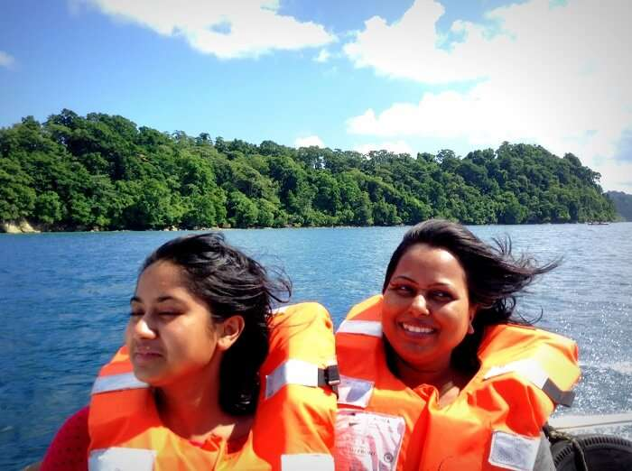 at the speed boat while returning to Havelock