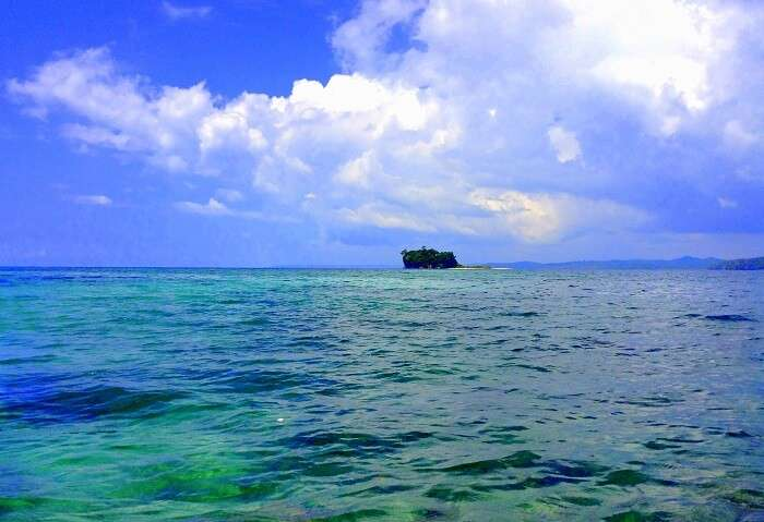 a view of the Red Skin Island from the speed boat