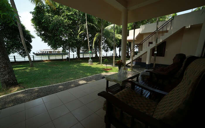 A view of the family cottage at Illikkalam Lake Resort in Kumarakom