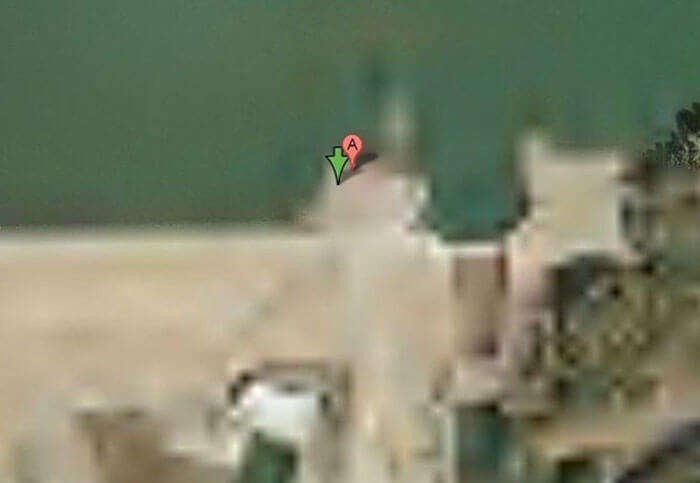 The blurred out map of Keowee Dam in South Carolina on Google