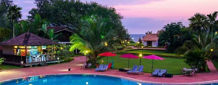 The vibrant scene of La Calypso hotel in Goa near Calangute beach