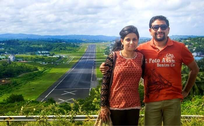 With the hills overseeing the airport in the background