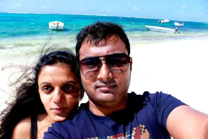 Chiranth enjoying his honeymoon in Mauritius