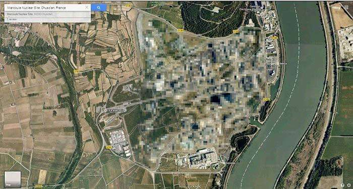The Marcoule Nuclear Site in Chusclan, France blurred out on Google map