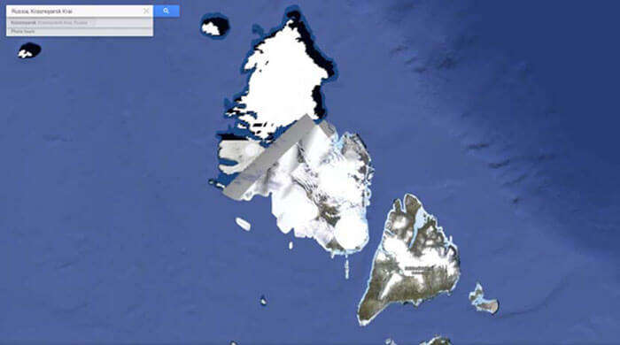 A part of Severnaya Zemlya in Russian Arctic blocked out on Google maps