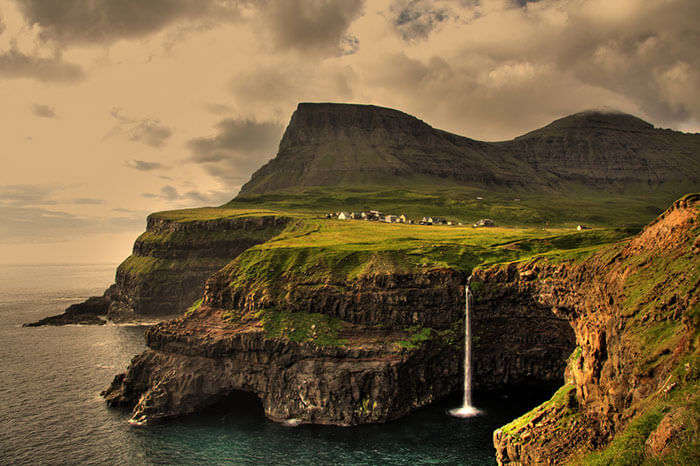 The Faroe Islands in the North Atlantic Ocean that have been blurred out on Google map